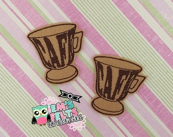 Set of 4 Cafe Cup Feltie, Felt Appliques, Felt Embelishment,