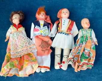 4 Vintage Souvenir Dolls Various Conditions and age