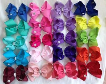 "JoJo style bow clip, Siwa clip ,boutique bow 6"", sparkle large bow,  Weddings, dance, party 24 colours"