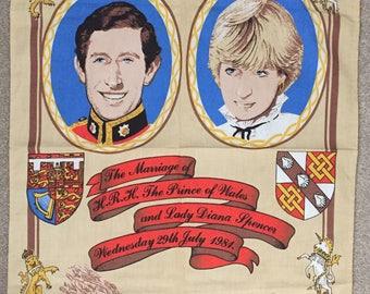 Vintage 1981 Charles and Diana Royal Wedding Commemorative Tea Towel - Unused BHS
