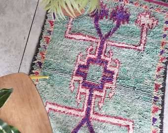 Blue and Purple Vintage Moroccan Rug