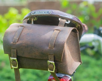 Saddle Casket Handcrafted Bag in Real Leather For Bike Bicycle Brooks