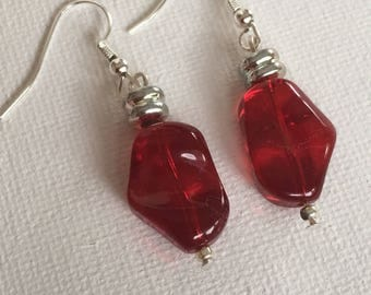 Red dangle earrings. Red Drop earrings. Red earrings. Red and silver earrings.