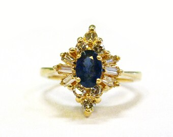 14 Sapphire & Diamond Starburst Ring - X3103