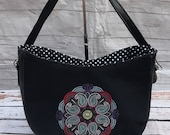 Embroidered faux leather hobo beautiful bespoke and unique bag perfect gift for anyone