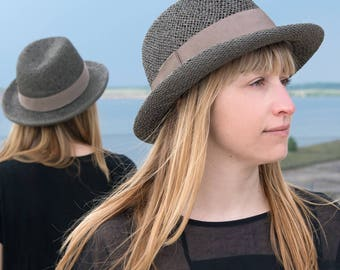 Fedora Women's /Men's, summer straw hat sun hat, millinery, stylish, elegant, designermode, wide brim, handcrafted, fashion, outfit, Serge