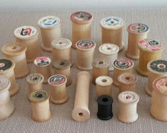 Wooden empty spools for craft decorative supplies - crafting materials lot of 26 - some vintage