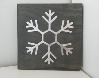 Metallic Snowflake Wood Sign 7x7