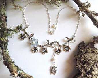 """Silver plated necklace """"perched master OWL on a tree"""": flowering branches, blue lucite flower beads"""