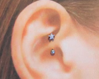 Daith Piercing Star,Surgical Steel Barbell..16g..8mm