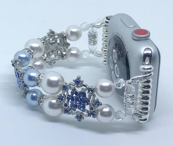 Apple Watch Band, Women Bead Bracelet Watch Band, iWatch Strap, Apple Watch 38mm, 42mm, Baby Blue & White Swarovski Pearls Silver Metal 6""