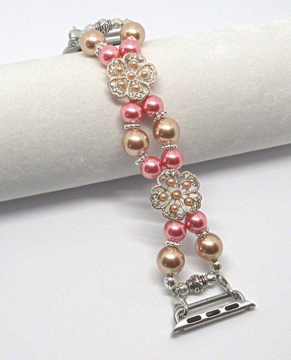 Rose Gold & Pink Pearl Size 6 - 6 1/4 Apple Watch Band, Women Bead Bracelet Watch Band, iWatch Strap, Apple Watch 38mm, 42mm