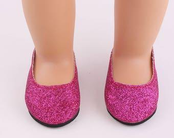 "Hot Pink Glitter Slipper Shoes for 18"" Doll"