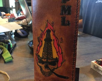 Custom Leather Bifold tally book cover