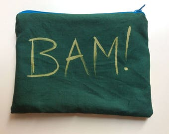 BAM! handprinted cosmetic bag / handprinted zipper pouch