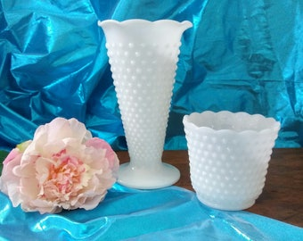 Hobnail Milk Glass Vases, set of two