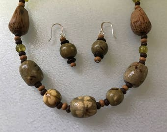 Wood and Glass Bead Necklace & Earring Set in Brown and Olive Colors
