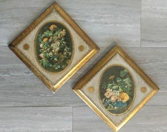 Florentine Wall-hangings / Florentia Wall-hangings / Florentine / Florentia / Gilt / Gilded / Pair / Gold Accents / Floral Wall-hangings