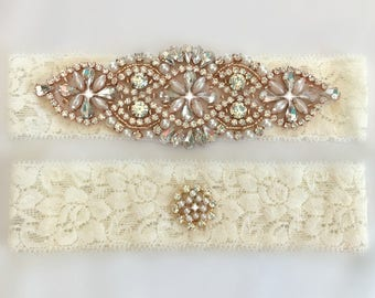 Rose Gold Wedding Garter Set, Rose Gold Bridal Garter Set, Rose Gold Garter Belt, Champagne Garter Set, Wedding Garters, Garter Belts