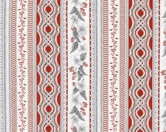 Robert Kaufman - Holiday Flourish 10 - Scarlet Stripes Silver Metallic by Peggy Toole - 100% Cotton - 12 Yards Available