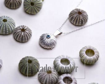 Silver and apatite sea urchin pendant