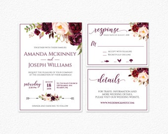Printable Wedding Invitation, Burgundy Floral Wedding Invitation, Marsala Wedding Invitation, Marsala and Blush Wedding Invitation, PDF