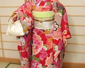 RESERVED doll clothes red kimono set with a bag for Silkstone Barbie and similar dolls