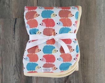 Neutral gender baby blanket/Hedgehog blanket/baby blanket/toddler blanket/minky blanket/baby boy blanket/baby shower/hedgehog minky blanket