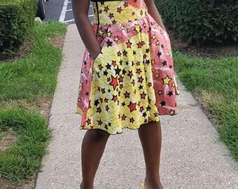 Ankara star print skirt
