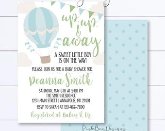 Up Up And Away Baby Shower Invitation, Blue Balloon Baby Shower Invite, Boy Baby Shower, Hot Air Balloon Invitation, Boy Balloon Shower