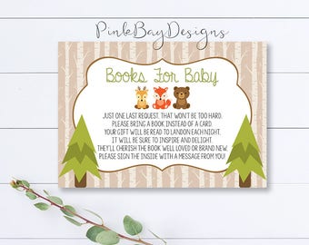 Woodland Books For Baby, Woodland Bring A Book Insert, Bring A Book Card, Woodland Baby Shower, Rustic Baby Shower Card, Animal Books Insert