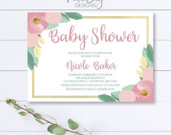 Floral Baby Shower Invitation, Pink Baby Invitation, Spring Baby Shower Invitation, Floral Invite, Baby Shower Invitation, Pastel Invitation