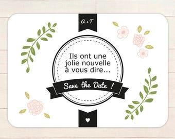 Save the Date MARIAGE personnalisable // Faire-part carte postale pour annonce jolie nouvelle à télécharger en pdf ou à imprimer