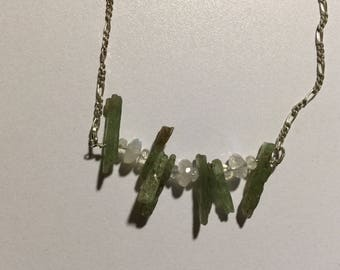 Green Kyanite and Moonstone beaded silver chain necklace