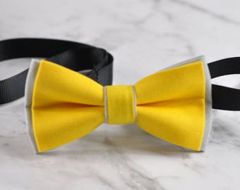 Men Women Yellow Grey 100% Cotton Hand Made Bowtie Bow Tie Wedding Ball Party