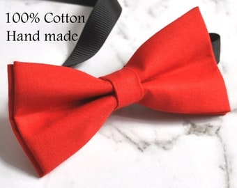 Boy Kids Baby 100% Cotton Bright RED Page Boy Bow Tie Bowtie Party Wedding 1-6 Years Old