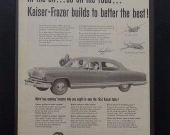 Kaiser Frazer Cars, Vintage Car Ad, Vintage Planes, Classic Cars, 1951, Illustration, Garage Decor, Man Cave Decor