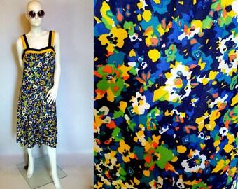 Vintage HUGUET Paris dress - sundress - 70's dress - floral dress - navy blue & yellow dress - Summer dress - made in France