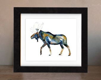 moose wall art, original art, original paintings, gift idea, moose decor, moose present, wall art, art, original painting, saltwatercolors