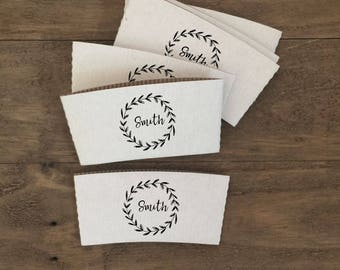 Personalized Natural Brown Kraft or White Kraft Coffee Sleeves - Choose Your Design - FREE U. S. SHIPPING