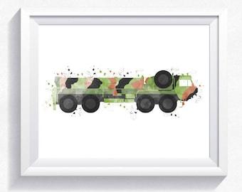 Oshkosh Hemtt military armored car print, military car printable, military wall art, army car print, armored car printable boy room wall art