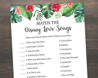 Hawaiian Bridal Shower Games, Match the Disney Love Songs, Tropical Floral, Bridal Shower Games, Printable, Disney Songs Match Game, J015