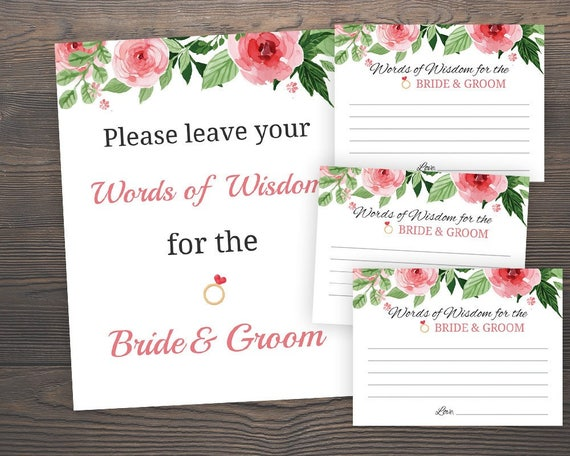 Words of Wisdom for Bride and Groom Floral Bridal Shower