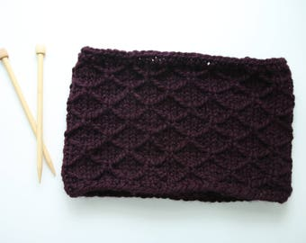 Ready To Ship, Trellis Stitch, Cowl, Thick Circular Scarf, Eggplant/Purple