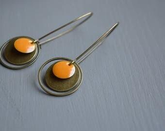 Long dark yellow earrings brass bronze