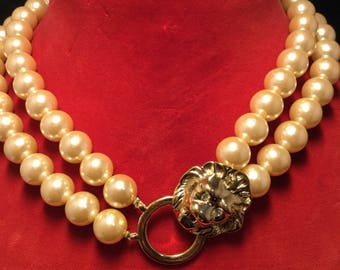 KENNETH LANE Lionhead and Faux Pearl Necklace