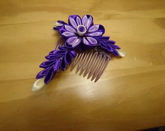 Purple kanzashi hair comb