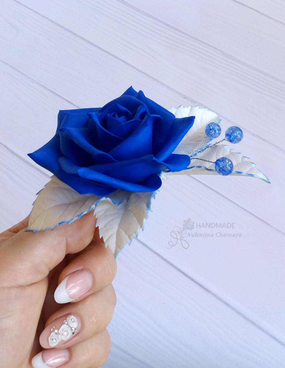 Royal blue flowers hair piece wedding headpiece blue hair royal blue flowers hair piece wedding headpiece blue hair accessories bridal floral hair clip prom rose izmirmasajfo