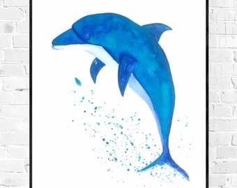 Original Dolphin painting-Sea art-art for children's room-dolphin art-seagreen art-zen art-animal art-dolphin lovers-nautical art