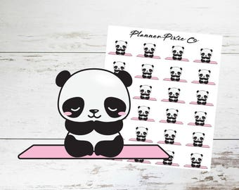 Panda Planner Stickers // Yoga // Meditate // Workout